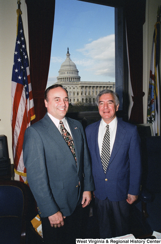 Photograph of Congressman Nick J. Rahall with an unidentified person in his Washington, D.C. office