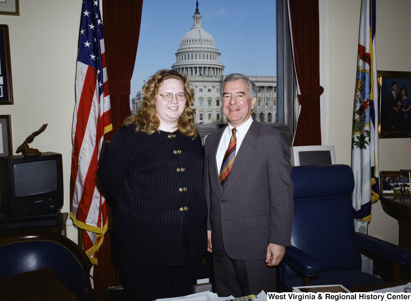 Photograph of Congressman Nick J. Rahall and an unidentified visitor in his office in Washington
