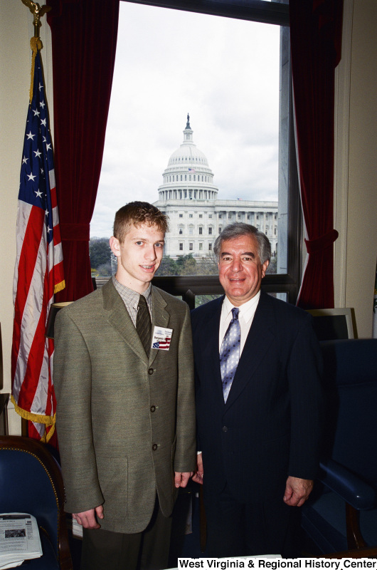 Photograph of Congressman Nick Rahall with Presidential Classroom Candidate Benjamin Wood