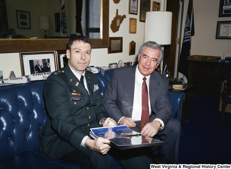 Photograph of Congressman Nick J. Rahall with Military Officer Rivenburgh