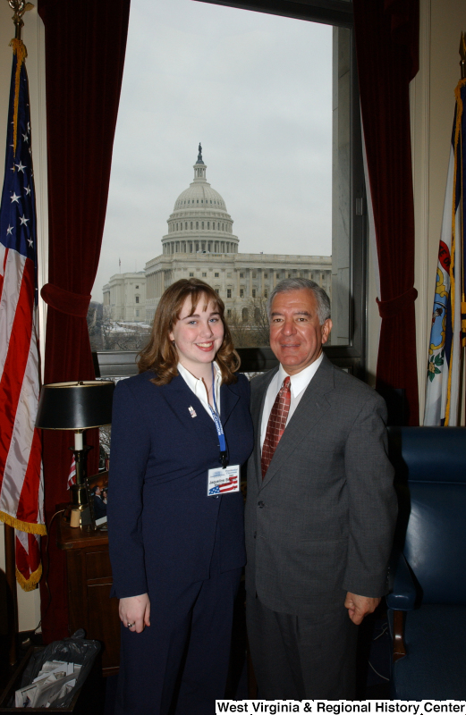 Congressman Rahall stands in his Washington office with Jaqueline Bryant.