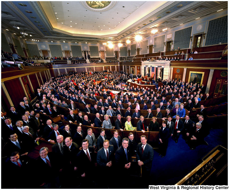 Members of the 108th Congress stand for an official House portrait photograph.