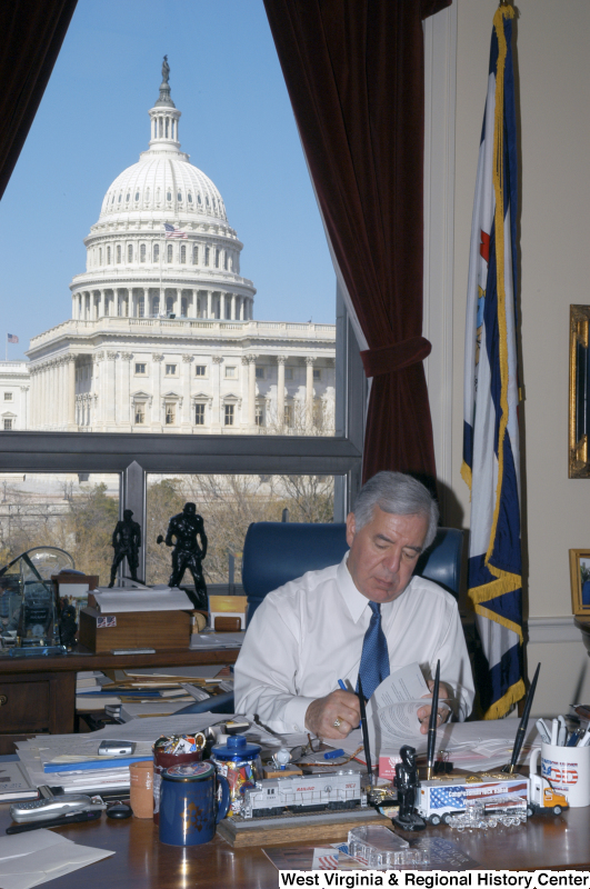 Congressman Rahall sits at his desk in his Washington office.