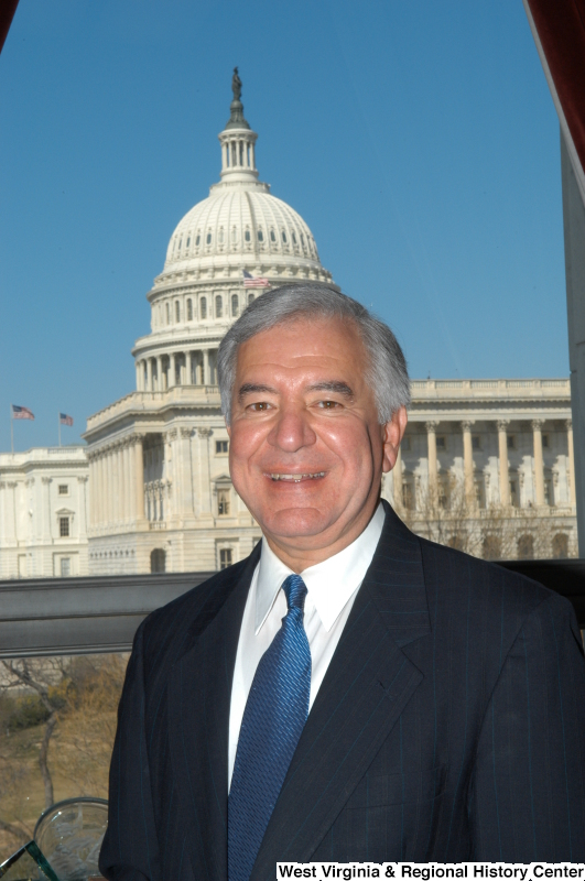 Congressman Rahall stands for a Member portrait photograph.