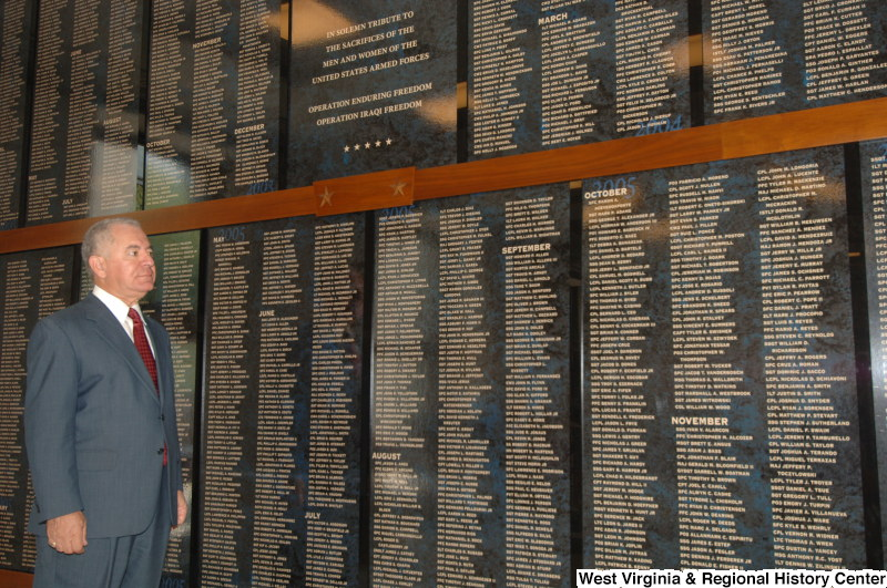 Congressman Rahall stands at a Unites States Armed Forces memorial for veterans of Operation Enduring Freedom and Operation Iraqi Freedom.