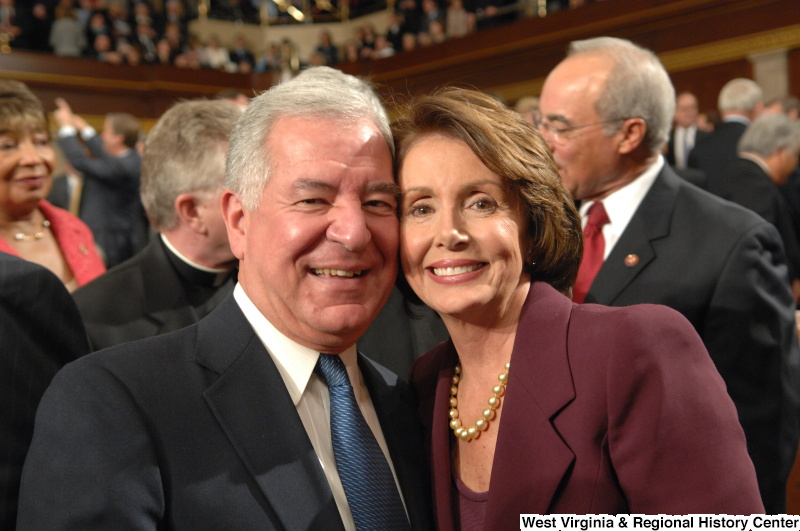 Congressman Rahall and Nancy Pelosi pose at a ceremonial swearing-in.