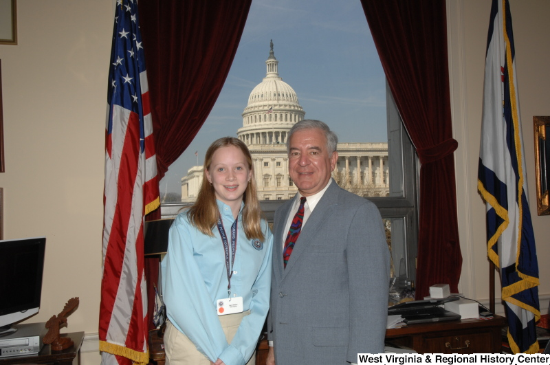 Congressman Rahall stands in his Washington office with Sam Williams from West Virginia, who wears a People To People Ambassador Programs lanyard.
