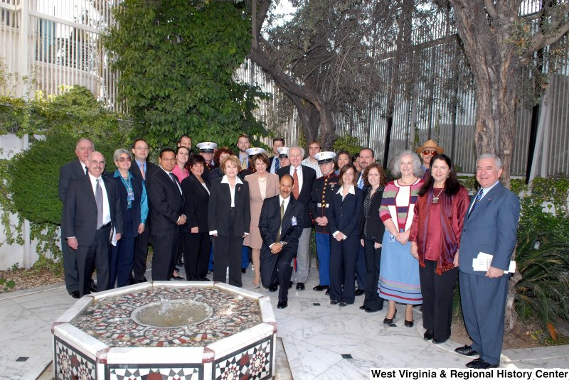 Congressman Rahall, Keith Ellison, Tom Lantos, Nancy Pelosi, Louise Slaughter, Henry Waxman, and others pose behind a fountain during a Congressional Delegation trip to Syria.