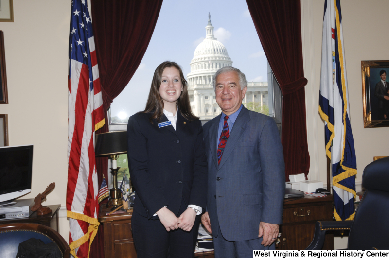 Congressman Rahall in his Washington office stands with Senate Democratic Page Megan Price.
