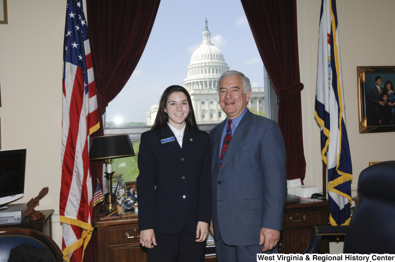 Congressman Rahall in his Washington office stands with Senate Democratic Page Lisa Warner.