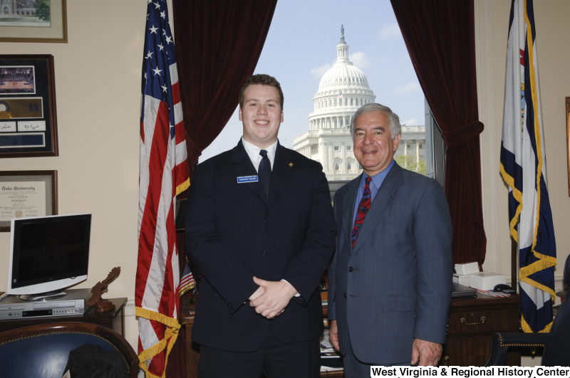 Congressman Rahall in his Washington office stands with Senate Republican Page Cameron Wilson.