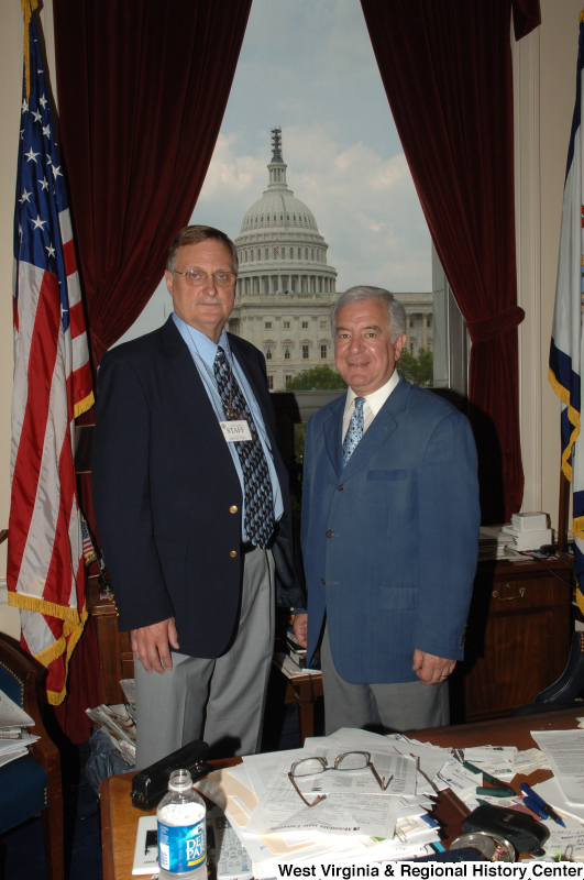 Congressman Rahall stands in his Washington office with Paul Hodges.