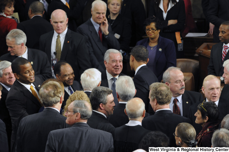 Photograph of Congressman Rahall shaking hands with President Barack Obama at his 2009 speech to joint session of Congress