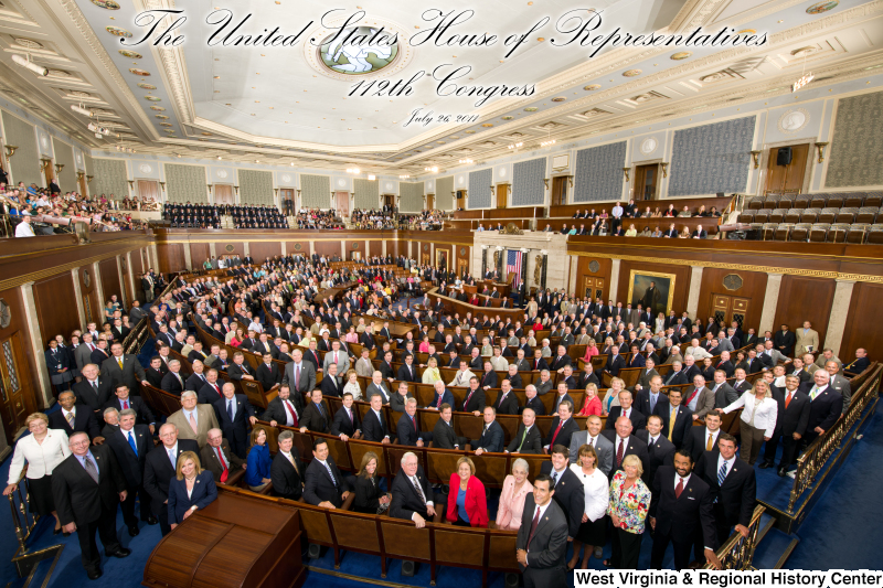 Members of the 112th Congress stand on the House floor (official House portrait photograph, with title).