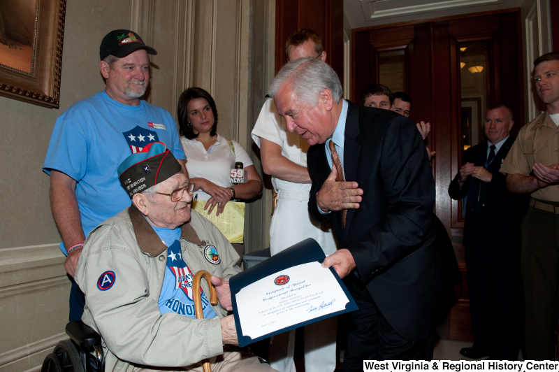 Congressman Rahall presents a Certificate of Special Congressional Recognition to Andrew Semonco, World War II veteran.