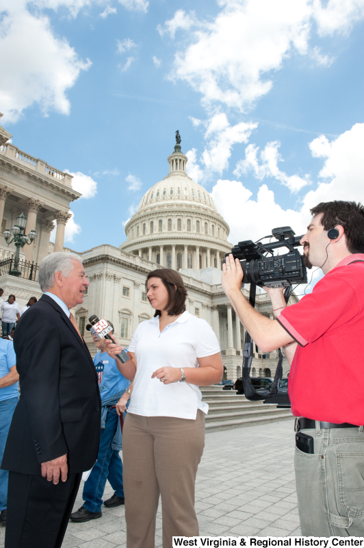 Congressman Rahall gives a television interview outside of the Capitol Building at a military award ceremony.