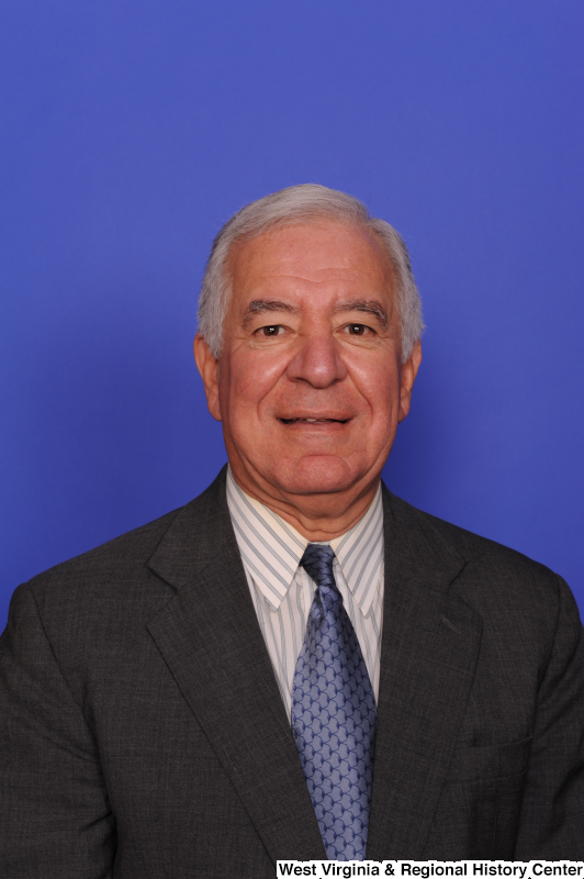 Congressman Rahall poses for a voting identification photograph.