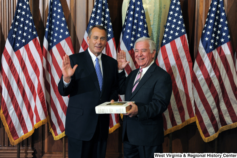 Congressman Rahall and John Boehner pose at a ceremonial swearing-in.